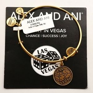 Alex And Ani Las Vegas Exclusive Dice Gold Bangle